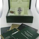 LADIES WOMAN ROLEX OYSTER PERPETUAL STEEL WATCH SILVER DIAL + BOX AND PAPER