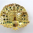 14KT YELLOW GOLD PEACOCK PENDANT PIN BROOCH VINTAGE ANTIQUE TURQUOISE PEARL