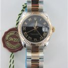 LADIES ROLEX DATEJUST STAINLESS STEEL WATCH WITH BOX TWO TONE GOLD + BLACK DIAL