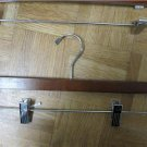 LOT SET 10 MAHOGANY HANGERS WOOD CHERRY PANTS CLIPS HEAVY DUTY CLOSET EXECUTIVE