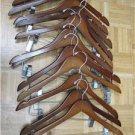 LOT SET 12 MAHOGANY HANGERS WOOD CHERRY PANTS CLIPS HEAVY DUTY CLOSET EXECUTIVE