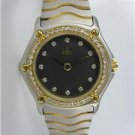LADIES EBEL CLASSIC WAVE DIAMOND DIAL & BEZEL TWO-TONE SS & 18KT Y GOLD WATCH