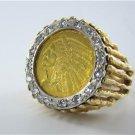 $2.1/2 DOLLAR 14K GOLD INDIAN HEAD QUARTER EAGLE COIN MENS RING DIAMOND SZ 11
