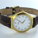 SEIKO SFX888 LADIES WATCH LEATHER BAND DRESS HARLEX CRYSTAL IN BOX GOLD TONE