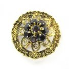 18KT YELLOW GOLD PIN BROOCH CABOCHON RUBY FLOWER 5.9DWT VINTAGE ANTIQUE PENDANT