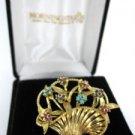 18KT GOLD VINTAGE PIN BROOCH FLOWER BASKET ITALY SAPPHIRE RUBY DESIGNER V SIGNED