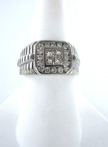 14KT WHITE GOLD  MEN RING 5.7DWT FATHER DAY GIFT 20 DIAMOND SZ8.5 GENTS JEWELRY