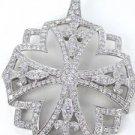 18KT WHITE GOLD PENDANT CHARM 237 DIAMOND 16.6 GRAMS ENHANCER CROSS FLOWER 3D