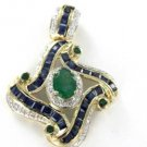 14KT YELLOW GOLD PENDANT 36 DIAMOND SAPPHIRE EMERALD STUNNING CHARM MEDA KARAT