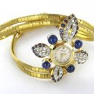 PIAGET 18KT YELLOW GOLD BRACELET WATCH ANTIQUE VINTAGE SAPPHIRE DIAMOND KARAT