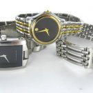 MOVADO WATCH LADIES STAINLESS STEEL + GOLD TWO TONE BLACK DIAL 81 E4 0823
