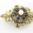 14K KARAT SOLID YELLOW GOLD PIN BROOCH VINTAGE CHRISTMAS 6 SAPPHIRES PENDANT