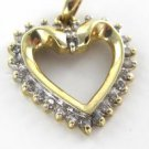 10K SOLID YELLOW GOLD HEART PENDANT VALENTINES LOVE 26 DIAMOND 1.8 GRAMS JEWELRY