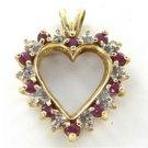 10K SOLID YELLOW GOLD HEART PENDANT VALENTINES LOVE 6 DIAMOND 2.3 GRAMS JEWELRY