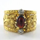 18K KARAT YELLOW GOLD CABOCHON RING 4.6DWT 2 DIAMOND SZ 7 STONE ANTIQUE VINTAGE