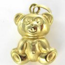18K KARAT YELLOW GOLD PENDANT 2.3 DWT TEDDY BEAR 3D DIELLE HOLIDAY GIFT JEWELRY