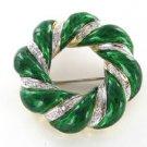 18K KARAT SOLID GOLD PIN BROOCH DIAMOND GREEN ENAMEL VINTAGE WREATH CHRISTMAS