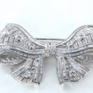 18KT KARAT WHITE GOLD PIN BROOCH  14.0WT BOW 297 DIAMOND VINTAGE ANTIQUE FINE
