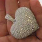 14KT KARAT WHITE GOLD PENDANT 288 PAVE DIAMOND BIG 3D HEART LUXURY FINE JEWELRY