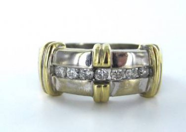 14KT KARAT WHITE & YELLOW GOLD 7 DIAMOND RING COCKTAIL WEDDING BAND 3.4DWT SZ6.5