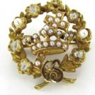 14K KARAT SOLID GOLD PIN BROOCH VINTAGE 3.0DWT PEARL ROMAN RELIGIOUS CROWN 1900
