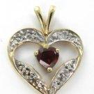 10KT YELLOW SOLID GOLD HEART PENDANT VALENTINES GARNET LOVE 1.7 GRAMS FINE JEWEL