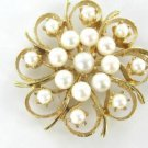14K KARAT SOLID YELLOW GOLD PIN BROOCH VINTAGE CHRISTMAS ANTIQUE PEARL JEWELRY
