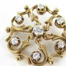 14K KARAT SOLID YELLOW GOLD PIN BROOCH VINTAGE CHRISTMAS 7 DIAMOND PENDANT JEWEL