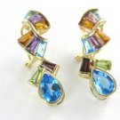 14K SOLID YELLOW GOLD EARRINGS KARAT MULTI COLOR STONES DANGLE 5.9 GRAMS FINE