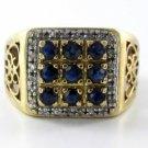 10K SOLID YELLOW GOLD RING FILIGREE 24 DIAMONDS BLUE STONE ANTIQUE VINTAGE SZ 10