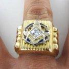 14KT SOLID YELLOW GOLD FREEMASON MASONIC MASON 1 DIAMOND BLUE LODGE FINE JEWEL