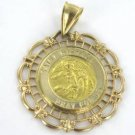14K KARAT SOLID GOLD 2.1 GRAMS SAINT MICHAEL PRAY FOR US MEDALLION PENDANT CHARM