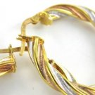 10KT KARAT SOLID YELLOW ROSE WHITE GOLD EARRINGS HOOP TRI COLOR SWIRL ITALY