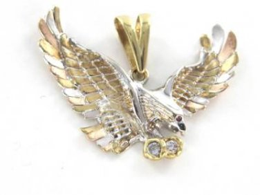 14K KARAT SOLID YELLOW ROSE WHITE GOLD EAGLE STONE TRI COLOR AMERICAN WINGS GRAM
