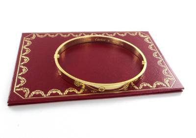 18KT SOLID YELLOW GOLD CARTIER LOVE BRACELET + PAPERS 39.9 GRAMS SZ 21 BANGLE