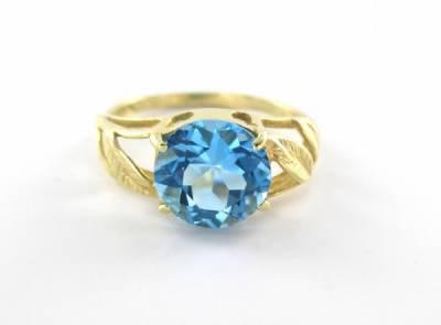 14K KARAT YELLOW GOLD RING  BLUE STONE WEDDING BAND SZ5 LEAVES COCKTAIL 2.0 GRAM