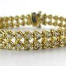 14KT YELLOW GOLD SOLID 94 DIAMOND 2 CARAT  DOUBLE ROW HEARTS BRACELET FINE JEWEL