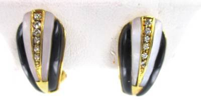 18KT SOLID YELLOW GOLD EARRINGS 10 DIAMOND MOTHER PEARL BLACK ONYX FINE JEWELRY