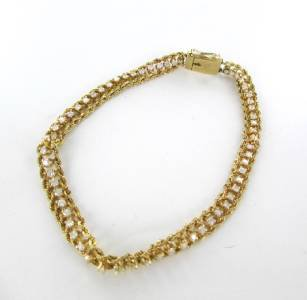 14KT YELLOW GOLD BRACELET 61 DIAMONDS 1 CARAT 6.2 GRAMS ROPE VINTAGE FINE JEWEL