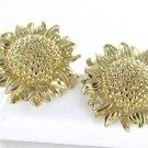 14KT YELLOW GOLD EARRINGS BIG SUNFLOWER SUNFLOWERS FINE JEWELRY FLOWER 5.2 GRAM