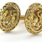 18K YELLOW GOLD CUFFLINKS VINTAGE CUFF LINK MEN INDIAN WARRIOR MAYA AZTEC FIGHT