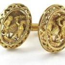 18K YELLOW GOLD CUFFLINKS VINTAGE CUFF LINK MEN INDIAN WARRIOR MAYA AZTEC FIGHT