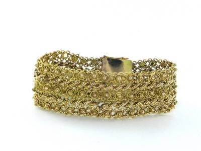 14K SOLID YELLOW GOLD BRACELET WIDE MESH 34.5 CABLE CHAIN BOLLYWOOD JEWELRY