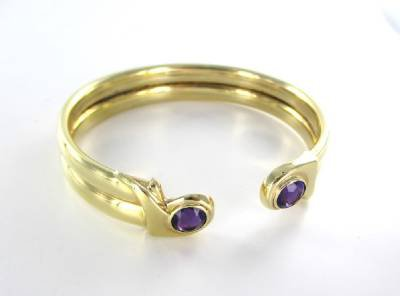 14K SOLID YELLOW GOLD BRACELET AMETHYST BANGLE 24.8 GRAMS FINE JEWELRY ITALY