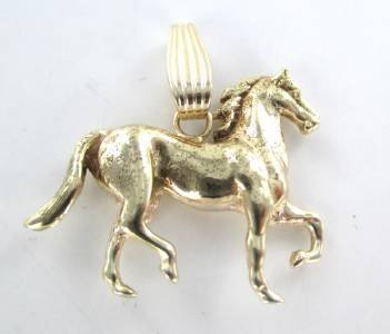 14K KARAT SOLID YELLOW GOLD PENDANT HORSE TROTTING 3D RACING FINE JEWELRY JEWEL