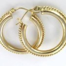 10KT SOLID YELLOW GOLD EARRINGS HOOP ROPE DESIGN 2.3 GRAMS FINE JEWELRY JEWEL