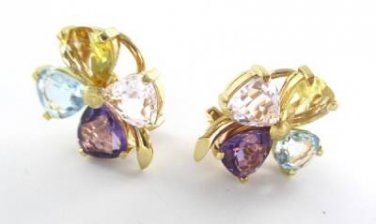 18K YELLOW SOLID GOLD EARRINGS FLOWER PETALS CLOVER 4 LEAF LUCK PRECIOUS STONES