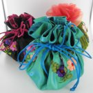 JEWELRY POUCH BROCADE POCKETS DRAWSTRING TRAVEL EMBROIDERED JEWELRY
