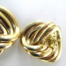 14KT YELLOW GOLD EARRINGS WAVE DESIGN ITALIAN ITALY 6.8 GRAMS FINE JEWELRY JEWEL