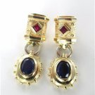 14K SOLID YELLOW GOLD EARRINGS RUBIES 8.5 GRAMS FINE JEWELRY STUNNING BLUE STONE